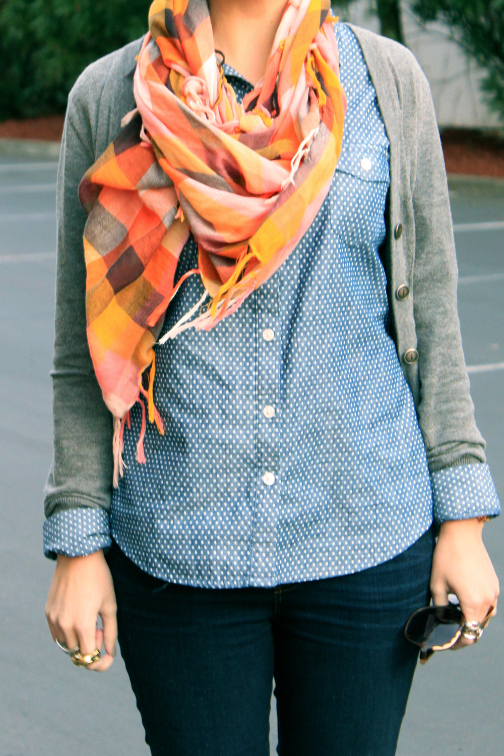 Coral Plaid Scarf - Detail