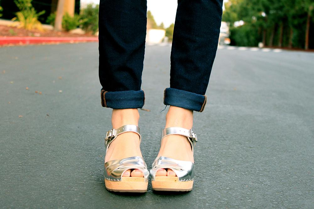 Silver Clog Sandals
