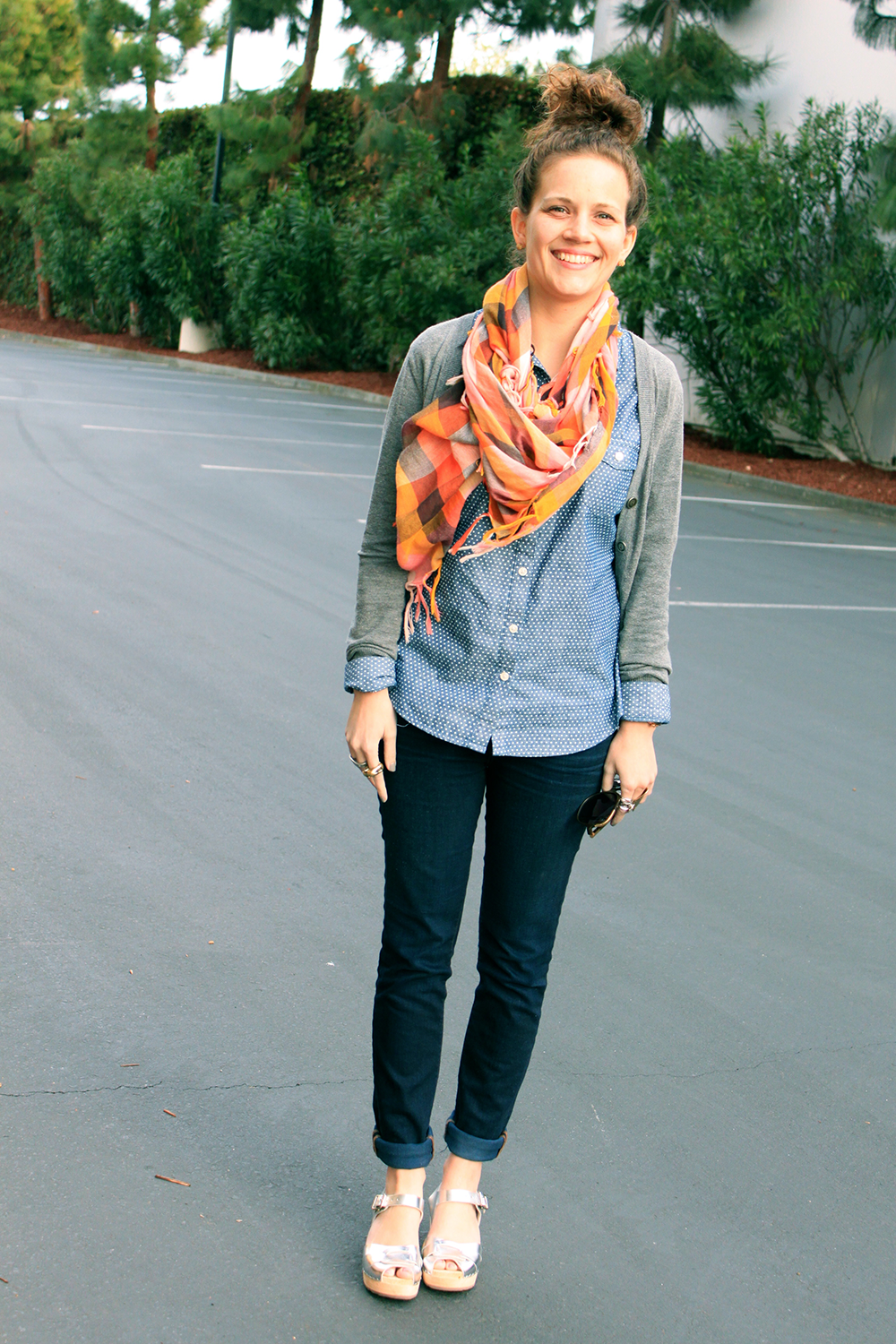 spring plaid scarf