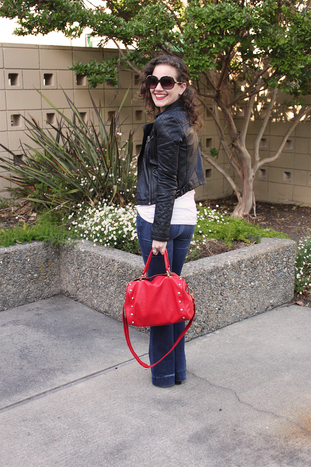 topshop leather jacket and lovestory jeans - undeniable style