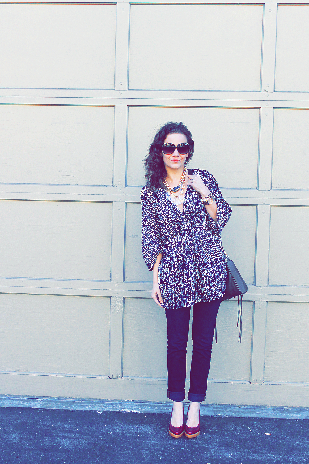 H&M black and tan kimono top - boho looks 2013 - undeniable style
