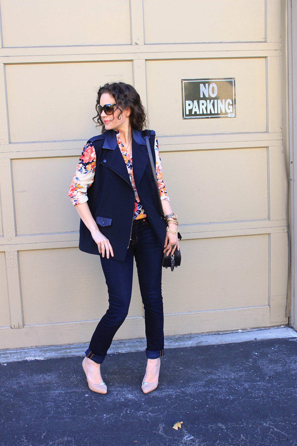 navy vest with leather trim via STYLE/STALK, L.A.M.B heels, Jeans and Blouse via Poshmark!