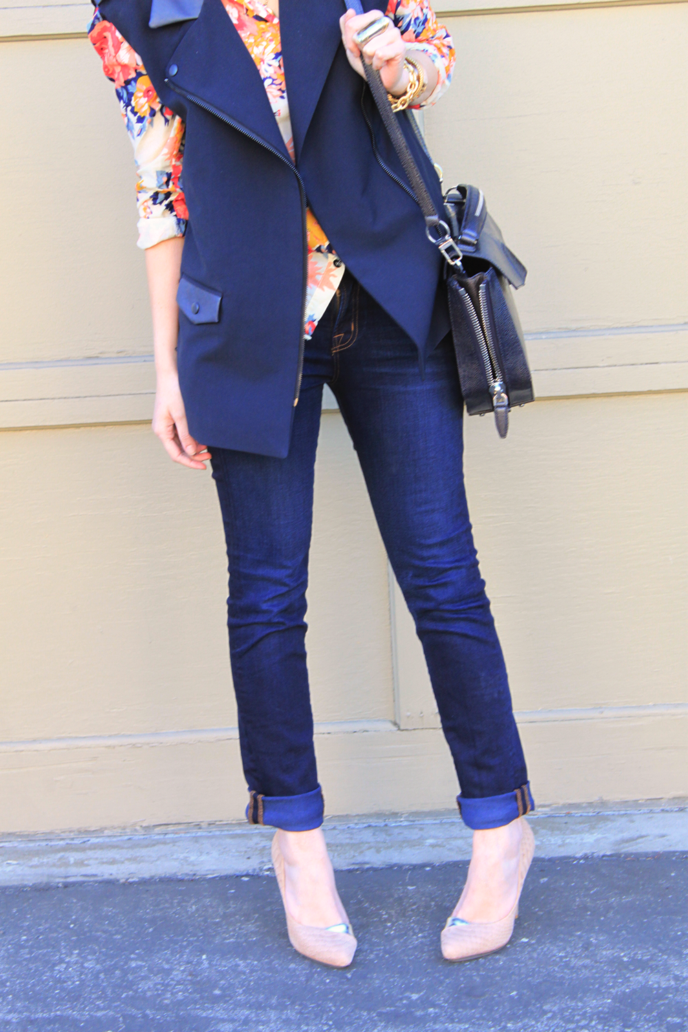 navy vest with leather details via STYLE/STALK