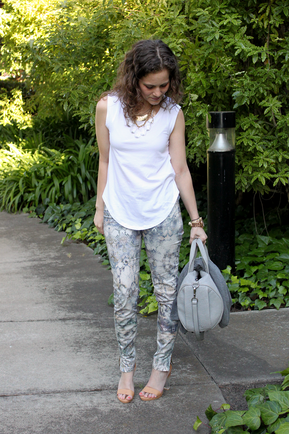 snakeskin pants and plain white tee - undeniable style
