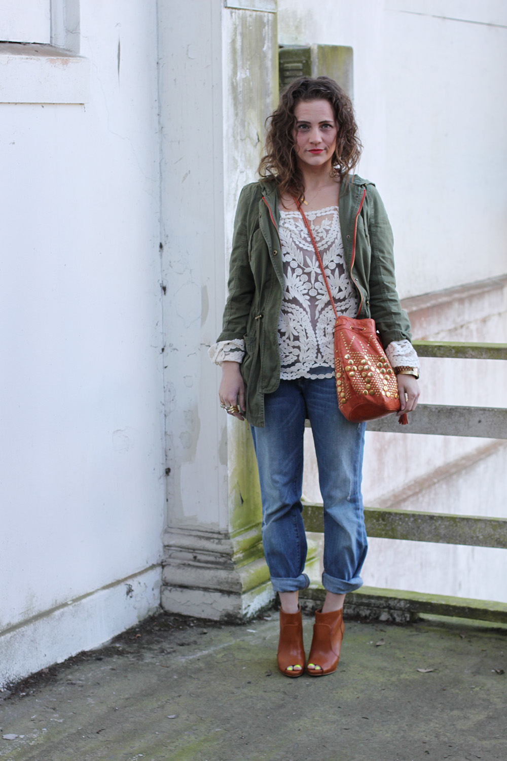 pegged jeans with surplus jacket
