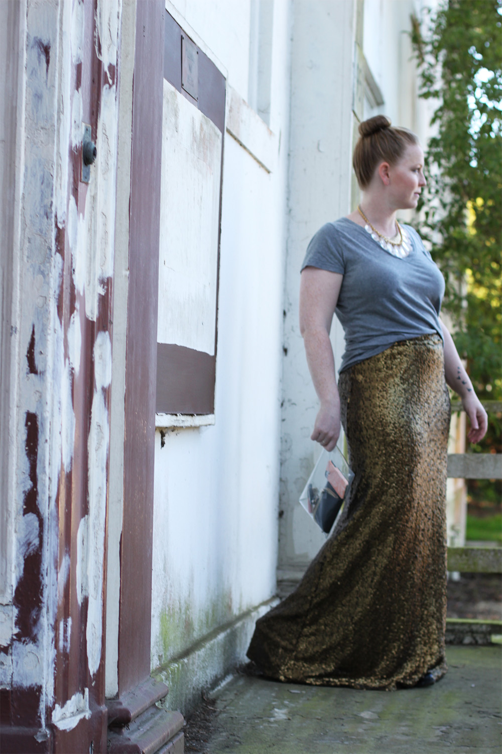 go glam with a sequin maxi skirt!