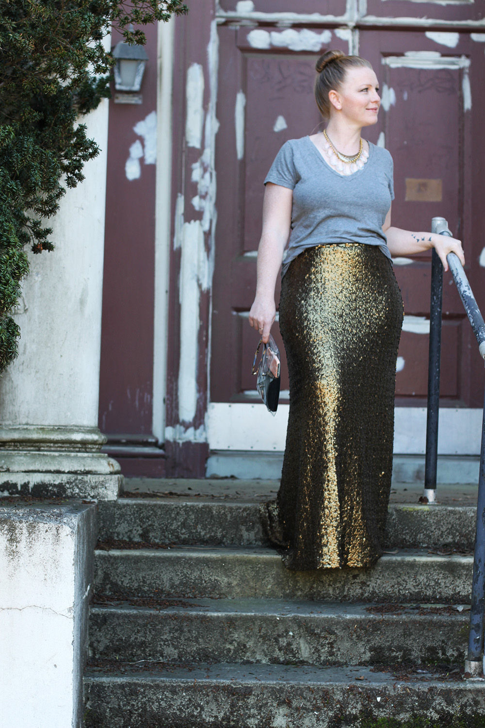 HOW TO DO CASUAL GLAM. The sequin maxi skirt is a must!