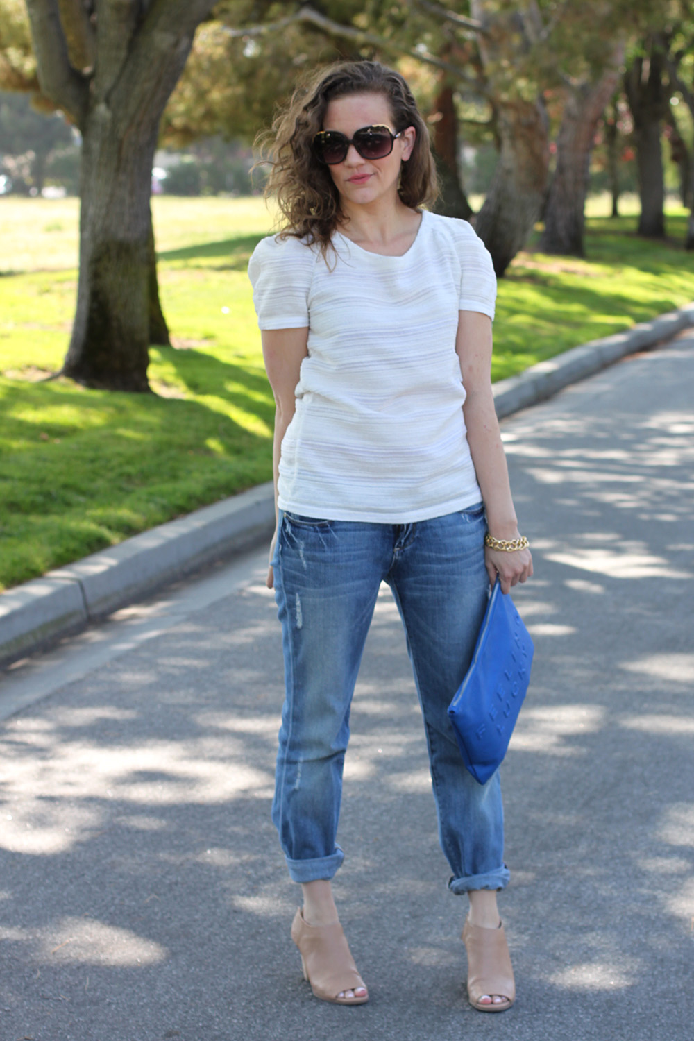 Easy casual look: structured top with distressed denim and booties on undeniable style san francisco blog