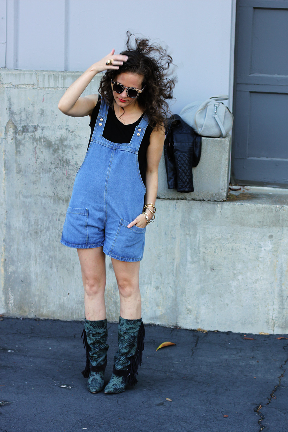 Hair flip! Short Overalls go edgy on undeniablestyle.com