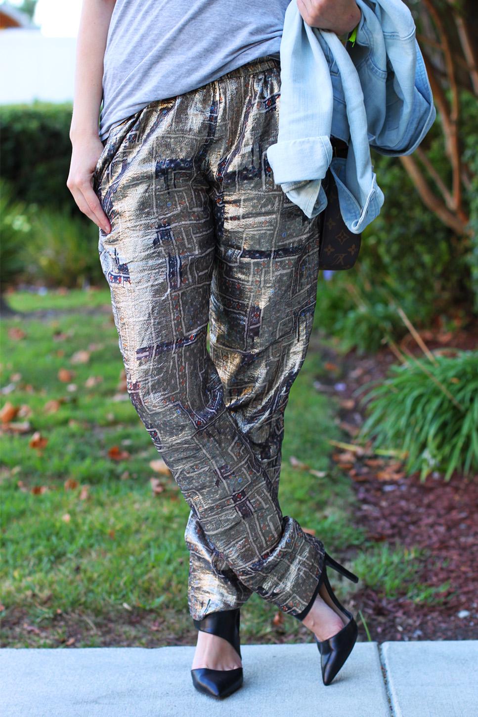 Isabel Marant pour HM gold lamé (gold lame) pants on undeniablestyle.com