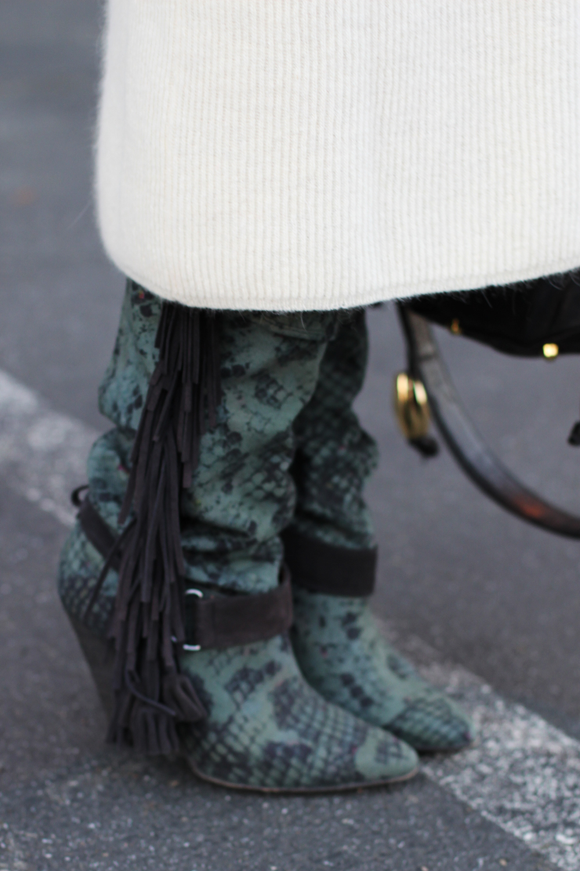 Isabel Marant fringe boots on undeniablestyle.com