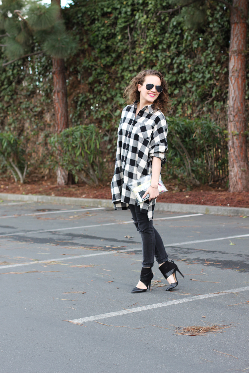 oversized buffalo plaid shirt